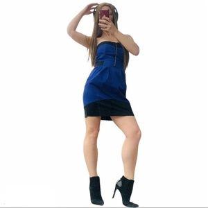 H&M Shoulderless Mini Blue Black Dress Bodycon